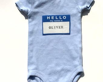 Hello My Name Is. Bodysuit. New Born. Pink. Blue. Boy. Girl. Hospital Gift. Baby Shower.