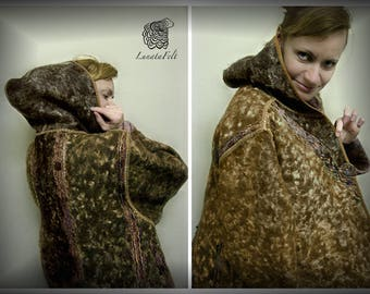Eco style and boho chic Plus Size felted coat from natural silk and wool (with old hand dyed lace and hand embroidery) OOAK -to order!