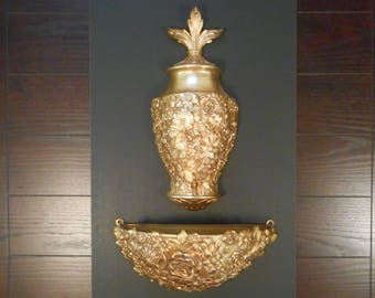 Vintage Syroco, Ornate Gold Wall Decor, 2 Piece Set, Wall Fountain and Wall Planter.