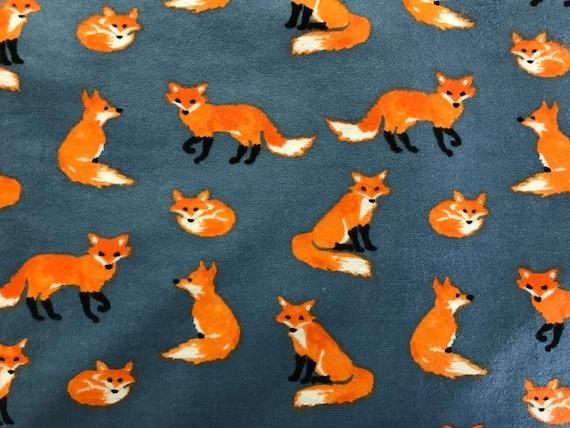 FLANNEL - Cute Fox Fabric - Orange Fox Flannel
