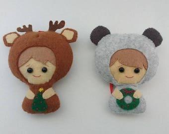 Baby bear and reindeer felt Christmas tree decorations