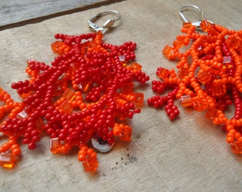 Coral earrings red orange 4 branches