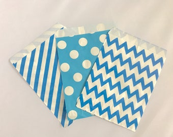 Goodie Bags-Blue Striped, Polka Dot, & Chevron | Gender Reveal | Baby Shower | Candy Buffet | Popcorn | Paper Treat Bags-30 Count