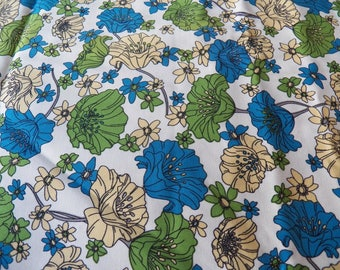 Vintage Fabric ROBERT KAUFMAN~4824 Floral Flowers POPPIES~Blue/Green 6.5 yards