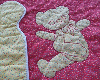Vintage SAKS FIFTH AVENUE Baby Quilt Blanket~Red/Yellow Calico Bear Cotton