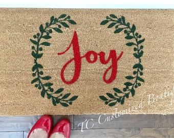 Unique Red & Green Handpainted Christmas Doormat, Christmas Doormat, Custom Doormat, Christmas Mat, Christmas Rug, Custom Mat, Custom Rug