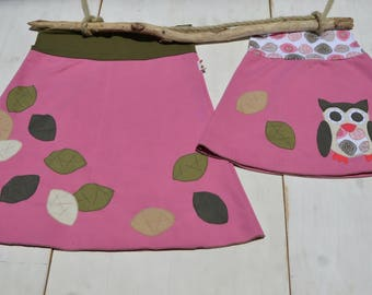 Mommy and me outfits-skirts set,mother and daughter matching outfits girl,matching mommy daughter,mother daughter,owl and leaves-pink jersey