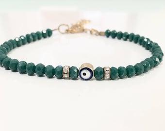 Green Evil Eye Bracelet, Beaded Evil Eye Bracelet, Evil Eye Jewelry, Turkish Jewelry