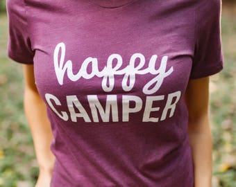 Happy Camper Tee- Maroon