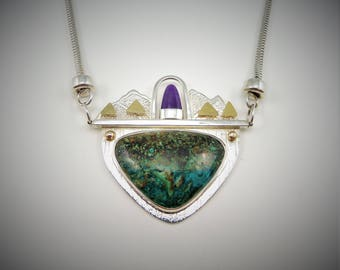 Chrysocola and Sugilite Necklace #N-52