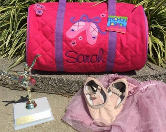 Personalized Dance Bag, Embroidered Ballet Duffle, Monogram Quilted Duffle, Stephen Joseph Kids Luggage, Ballerina Duffel Bag,