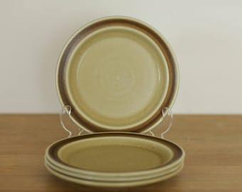 Stavangerflint Finse - Four Salad Plates Designed by Kare Berven Fjeldsaa 1960s Norway