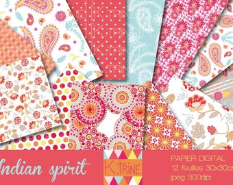 Indian spirit for scrapbooking and crafting digital paper