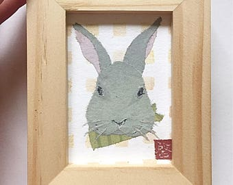Gray Rabbit Art, Bunny Art, Bunny Gifts, ACEO, Original, Gift for Her