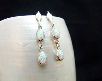 White Opal Sterling Silver Stud Earrings