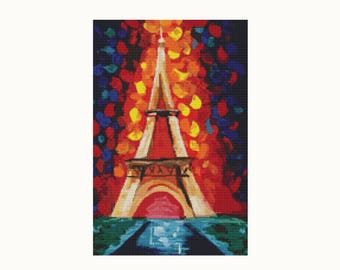 Cross Stitch Pattern PDF - The Colors of Paris - Paris Cross Stitch - Eiffel Tower - Instant Download (ART025)