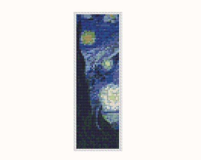 Bookmark Cross Stitch Pattern PDF, Embroidery Chart, Art Cross Stitch, The Starry Night by Vincent van Gogh (BK04)