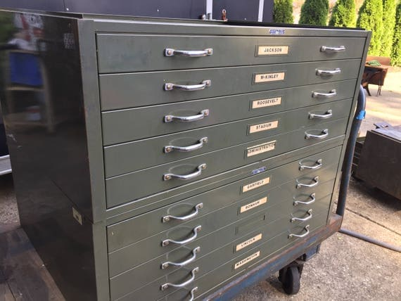Vintage blueprint cabinet printer cabinet metal industrial like this item malvernweather Image collections