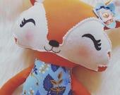 Fox Doll, Handmade Fox Softie, Ready to Ship, 19 inches, Toddler or Baby Toy, Woodland Nursery, Orange and Blue Fox, Fox Stuffed Animal