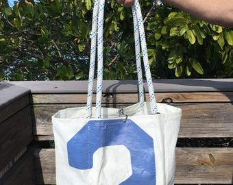 PRINDLE Sail Number 2 Large recycled vintage sail cloth tote bag with clasp closure