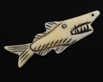 Shark Pendant-Bone Shark Bead-Bone Shark Pendant-Shark Necklace-Shark Focal Bead-Shark Centerpiece-Carved Shark Bead