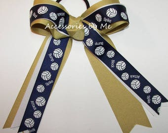 Bulk Price, Volleyball Bow, Navy Gold Volleyball Ribbon, Navy Blue Sports Gold White Volleyball Streamer Bow, Team Mom Gift, #1 Coach Choice
