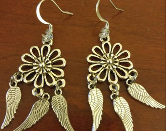 Flowers and Feathers silver dangles