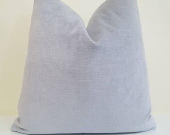 Silver / Light Gray Cotton Velvet Pillow Cover -  Cotton Velvet - Decorative  throw pillow - Gray Velvet Cushion