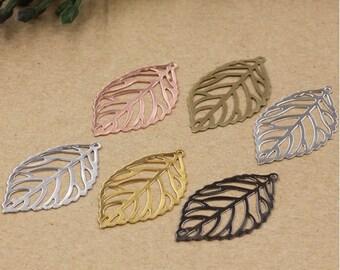 Bulk 100 pcs pendants charms hollowed leaf brass base