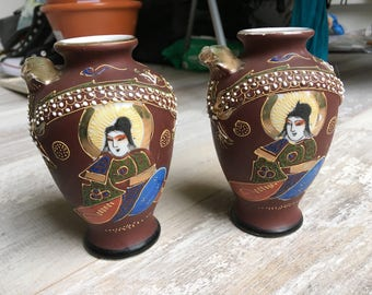 Pair of Vintage Japanese Vases with Geisha and Dragon Design