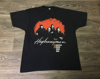 The Highwaymen Tour VTG Shirt 1990 90s Johnny Cash Willie Nelson Waylon Jennings Kris Kristofferson TShirt Country Legends Band Tee Large