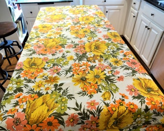 """Large Retro 1970's Floral Print Tablecloth  - 60"""" x 86"""" - Orange - Gold - Avocado - Pink - New Old Stock - Mint Condition"""