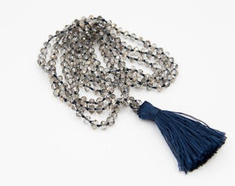 Double Wrap, Hand-knotted Tassel Necklace - Silver and Navy