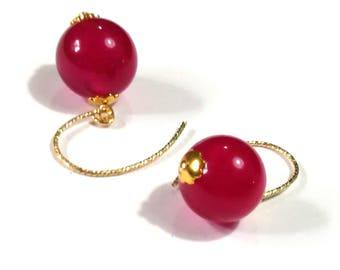 Gold filled, Fuchsia jade earrings