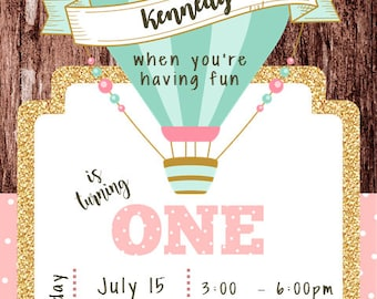 Hot Air Balloon 1st Birthday Invitation Digital File ONLY