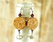 Wine cork earrings - Crys...