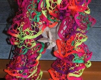 Handmade ruffle scarf - multicolor very fresh colors for the season-