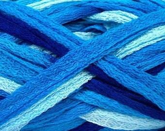 Handmade - ruffle scarf small nets Trio of blue