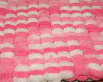 Handmade - baby blanket double pom poms - pink and white - special cozy