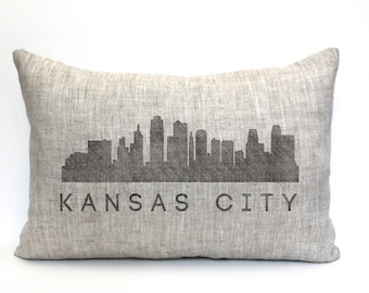 "Kansas City skyline pillow, throw pillow, word pillow, phrase pillow, mother's day gift - ""Kansas City skyline"""