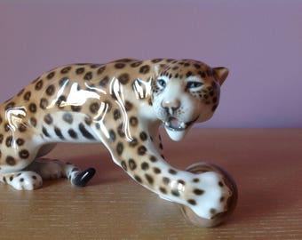 "Rare Rosenthal Selb Germany Porcelain Leopard Figurine Sculpture 8.75"""