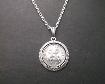 Finland Suomen Tasavalta  Coin Necklace - Finland Coin Pendant in Pendant Tray dated 1957