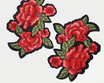 Iron on Embroidered Roses Flower Patch Applique, Red Flower Badges