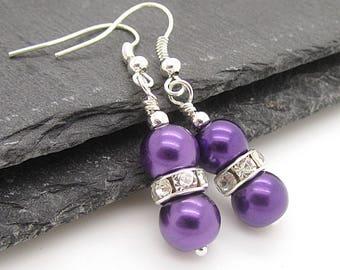 Eggplant Bridesmaid Earrings, Simple Pearl Drops, Purple Wedding Jewellery, Matching Bridal Sets, Dark Purple Earrings, Bridal Party Gifts