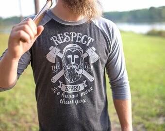 Beard Shirt - Mens Beard Tshirt - Fear the Beard - Respect the Beard - Gifts for Dad - Dad Beard - Beard Dad - Beard Tshirt - Gifts for Him