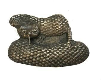 Vintage Rattlesnake Belt Buckle - Reptile - Serpent - Scary - Brass - California Desert