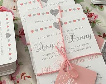 Pink + silver glitter watercolour Wedding Invitation Suite Digital Printable