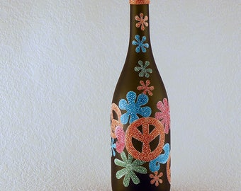 70's style vase, peace sign decor, boho decor, gift for her, orange and teal, repurposed bottle, hand painted glass