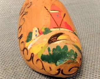 Dutch Wooden Shoe - Souvenir with Windmill Featured -  Painted and Carved - made in Holland