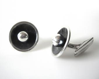 Danish Modernist John Lauritzen Sterling Silver Round Cufflinks